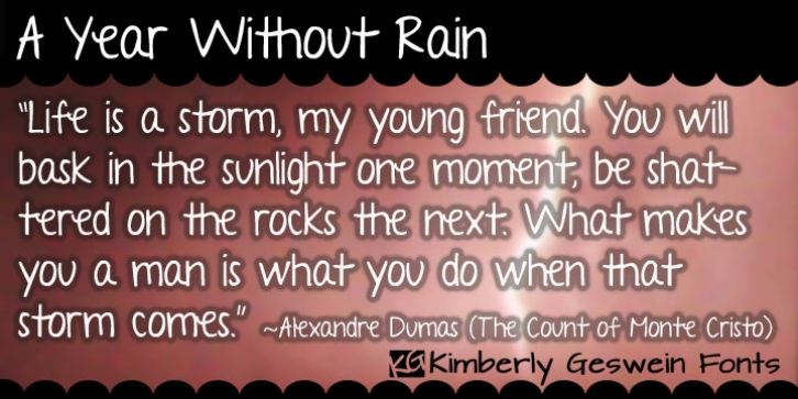 A Year Without Rain font preview