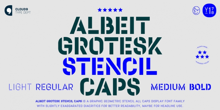 Albeit Grotesk Stencil Caps font preview