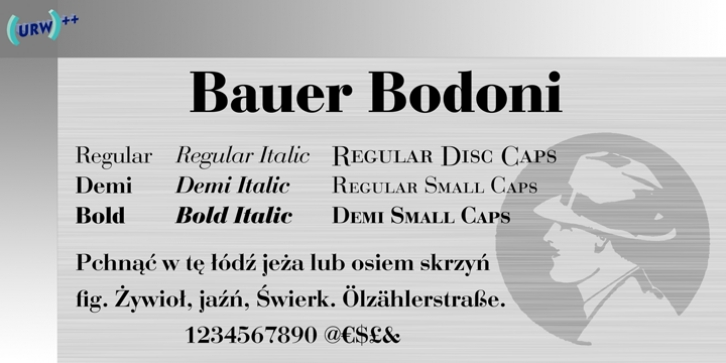 Bauer Bodoni font preview