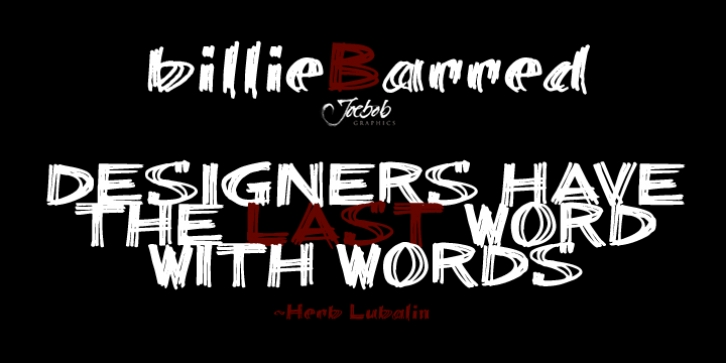 billieBarred font preview