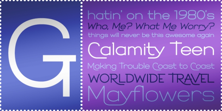 Calamity Teen BTN font preview