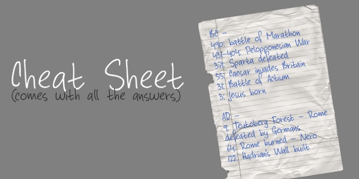 Cheat Sheet font preview