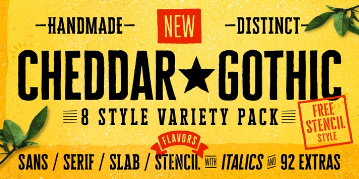 Cheddar Gothic font preview