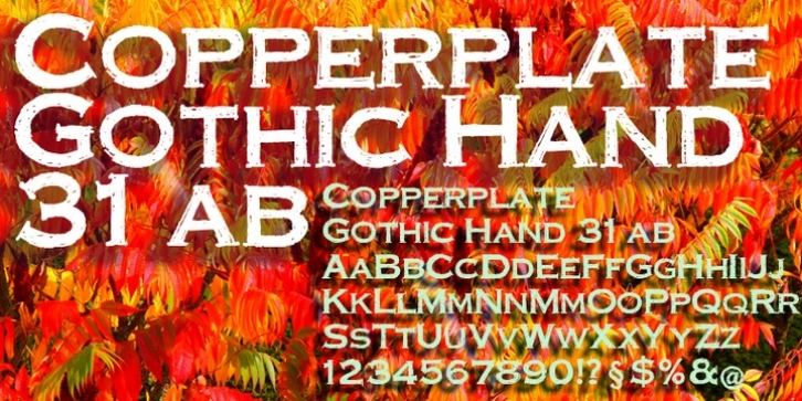 Copperplate Gothic Hand font preview