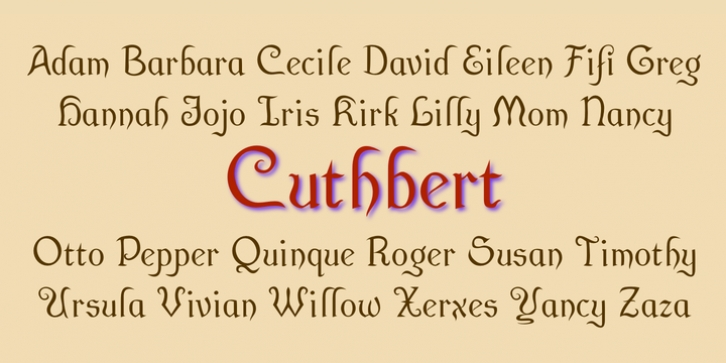 Cuthbert font preview