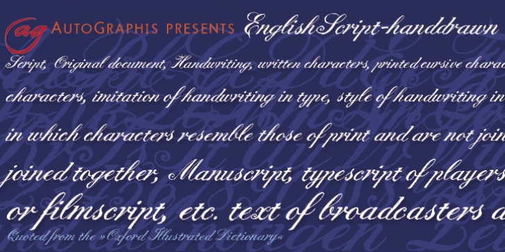 English Script Hand font preview