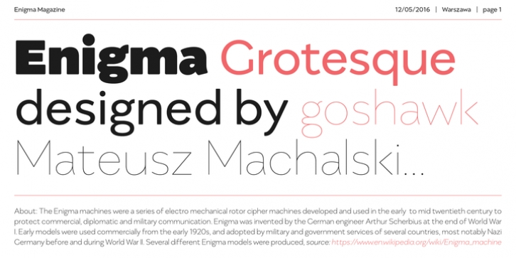Enigma Grotesque font preview
