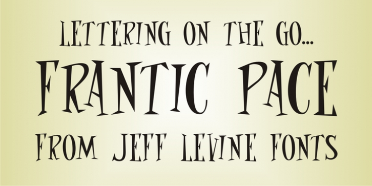 Frantic Pace JNL font preview