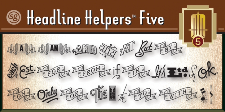 Headline Helpers Five SG font preview