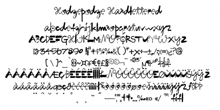 Hodgepodge Handlettered font preview