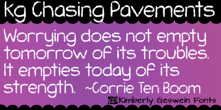 KG Chasing Pavements font preview