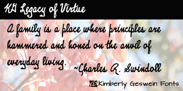 KG Legacy Of Virtue font preview