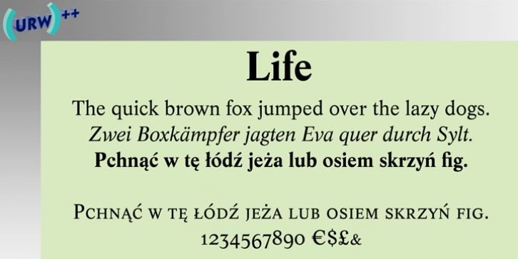 Life font preview