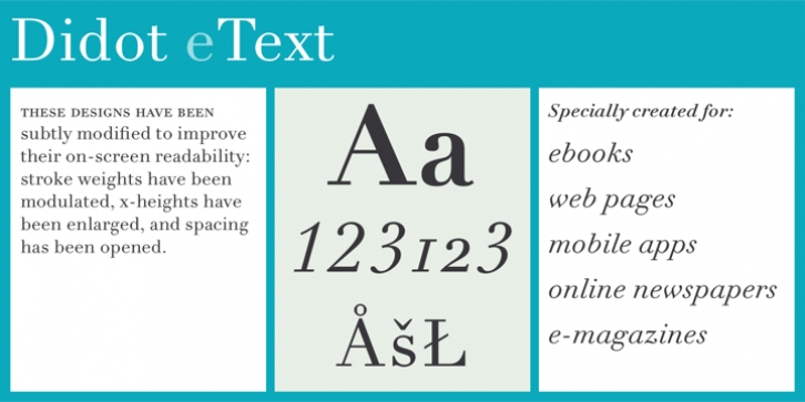 Linotype Didot eText Pro font preview