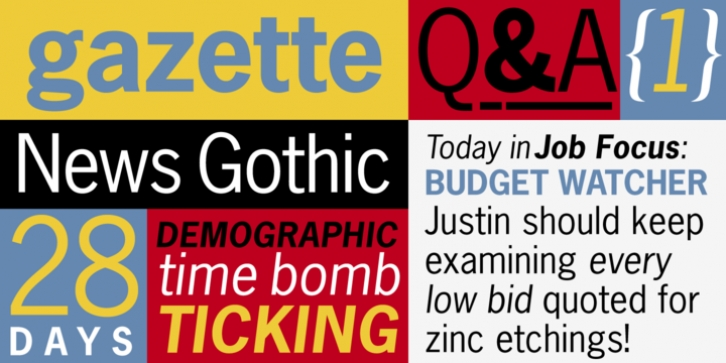 News Gothic font preview