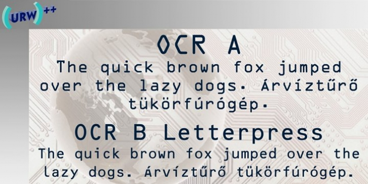 OCR-A font preview