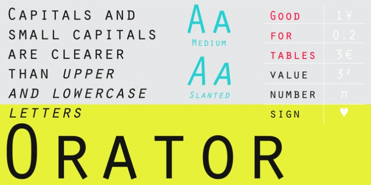 Orator font preview