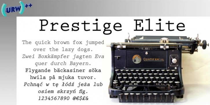 Prestige Elite font preview
