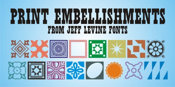 Print Embellishments JNL font preview