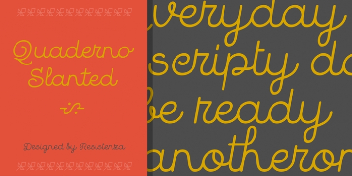 Quaderno Slanted font preview