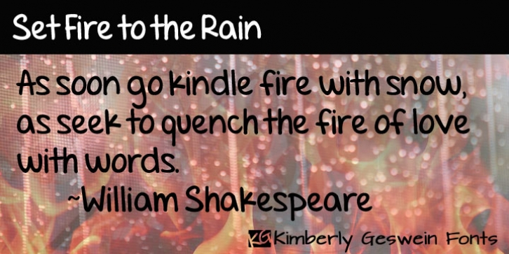 Set Fire To The Rain font preview
