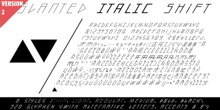 Slanted ITALIC Shift font preview