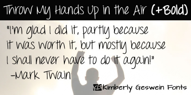 Throw My Hands Up In The Air font preview