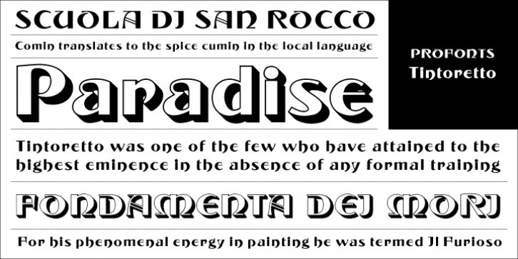 Tintoretto font preview