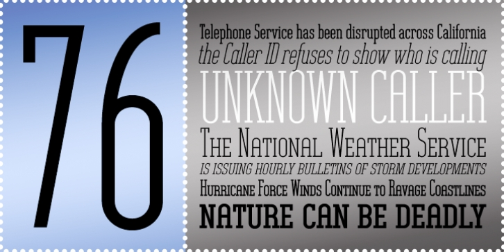 Unknown Caller BTN font preview
