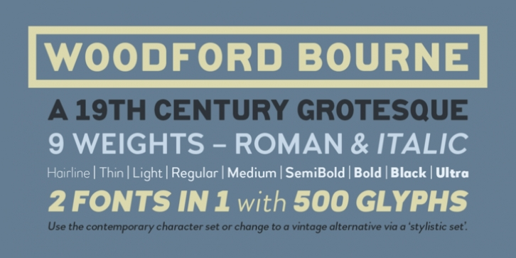 Woodford Bourne font preview